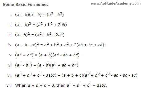 Aptitude Shortcut Formulas